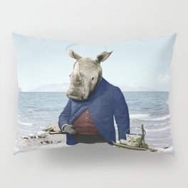Mr. Rhino's Day at the Beach Pillow Sham