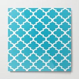 Arabesque Architecture Pattern In Cerulean Blue Metal Print