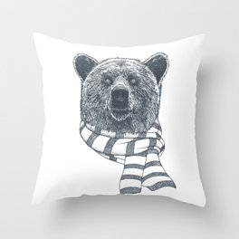 Winter Bear Drawing Throw Pillow
