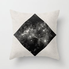 Space Diamond - Abstract, geometric space scene in black and white Throw Pillow