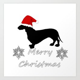 "Dachshund ""Merry christmas"" Art Print"