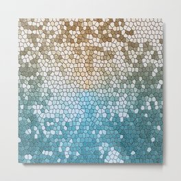 Marble Geometric Golden Blue Design Pattern Abstract Metal Print