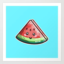 Kawaii Cute Watermelon Piece Art Print
