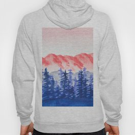 Navy and Coral Mountains Hoody