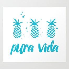 Pura Vida Pineapples in Blue Art Print