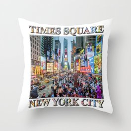 Times Square Tourists (with type) Throw Pillow