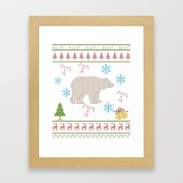 Bear Hunting Christmas Ugly Shirt Bear Hunter Shirt Framed Art Print