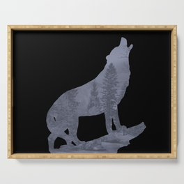 Wolf Silhouette Modern Country Art Modern Farmhouse Art Matted Picture USA A066b Serving Tray