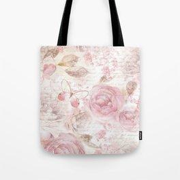 Vintage pastel pink brown butterfly floral typography Tote Bag