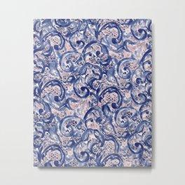 Vinage Lace Watercolor Blue Blush Metal Print