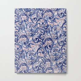 Vinage Lace Watercolor Blue Blush Metal Print