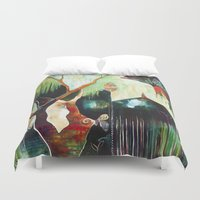 "flora bowley Duvet Covers featuring ""Temple Lilies"" Original Painting by Flora Bowley by Flora Bowley"