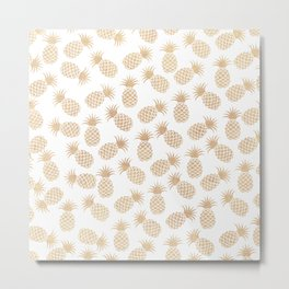 Modern blush brown tropical summer fruit pineapple Metal Print