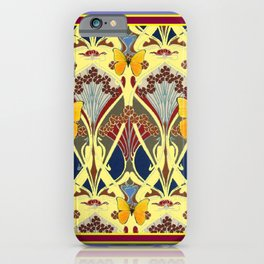 Decorative Yellow Art Nouveau Butterfly Maroon Designs iPhone Case