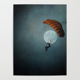 Skydiver's Moon Poster