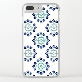 Mint and Navy Repeating Tile Digital Design Clear iPhone Case