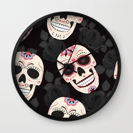Day of the Dead Sugar Skulls halloween skull black roses black Wall Clock