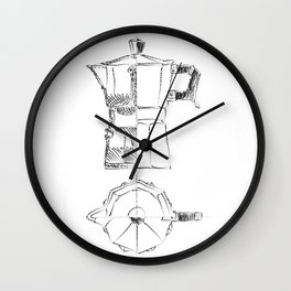 Coffee pot blueprint sketch Wall Clock