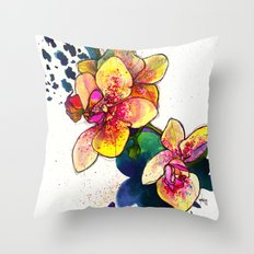Inky Orchid Throw Pillow