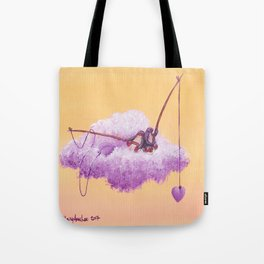Purple penguin couple fish for purple hearts in a yellow sky Tote Bag