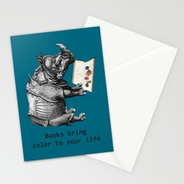 Reading Rhino loves books Stationery Cards