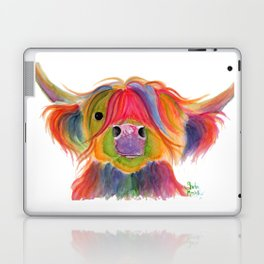 Scottish Highland Cow ' PENELOPE PLUM ' by Shirley MacArthur Laptop & iPad Skin