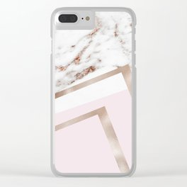 Geometric marble - luxe rose gold edition I Clear iPhone Case