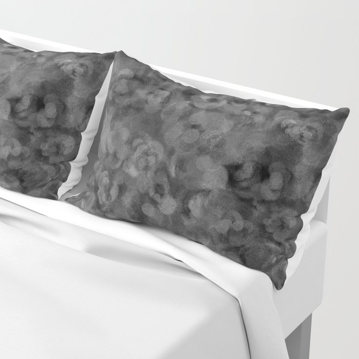 Dark Charcoal Gray and Light Grey Abstract Pillow Sham