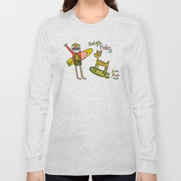 sleigh rides surfs up for christmas by surfy birdy Long Sleeve T-shirt