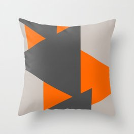 Orange and Grey Triangles Throw Pillow