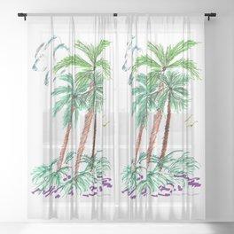 """Triplet Palms"" Sheer Curtain"