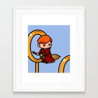 quidditch Framed Art Prints featuring Quidditch Keeper by Nitya Chirravur