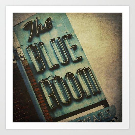 Blue Room Neon Sign Art Print