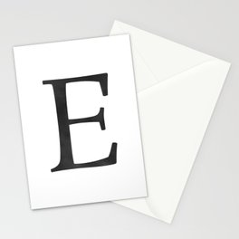 Letter E Initial Monogram Black and White Stationery Cards
