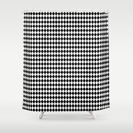 mini Black and White Mini Diamond Check Board Pattern Shower Curtain