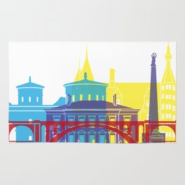Luxembourg skyline pop Rug