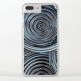 Black, white and blue spiraled coils Clear iPhone Case