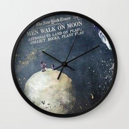 Men walk on Moon Astronauts Wall Clock