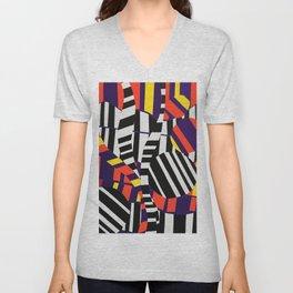 Black & White Stripes with Purple & Yellow Unisex V-Neck