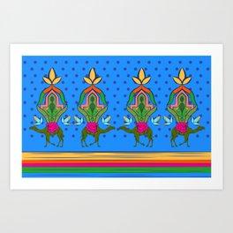 Camels & Cactus Trecking Art Print