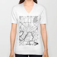moscow V-neck T-shirts featuring Moscow Map Gray by City Art Posters