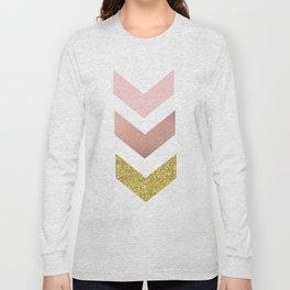 Rose gold chevron Long Sleeve T-shirt