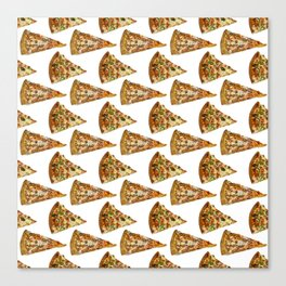 Spicy Meat Pizza Slice Polka Dot Pattern Canvas Print