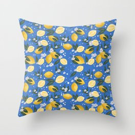 Yellow lemons pattern in blue background  Throw Pillow