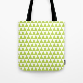 Grass Green and White Triangle Pattern Tote Bag