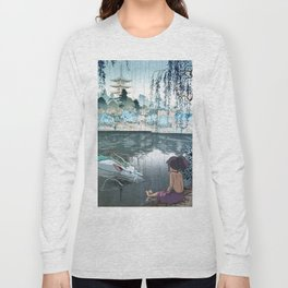 Haku and Chihiro woodblock mashup Long Sleeve T-shirt
