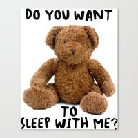 teddy bear Canvas Prints featuring teddy bear by ulas okuyucu