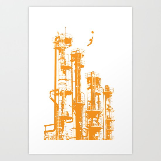 Factory Jump (orange) Art Print