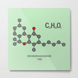 Marijuana Weed Cannibis Tetrahydrocannabinol Molecue Metal Print