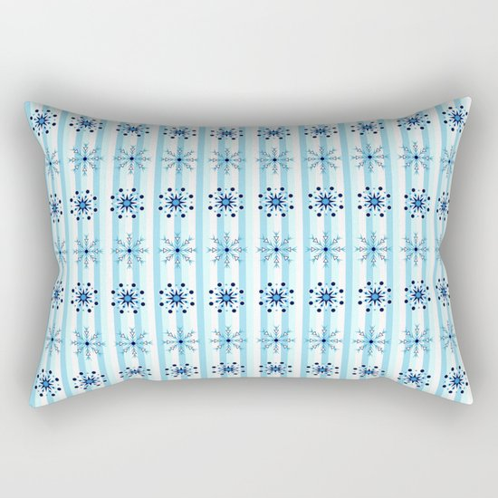 Snowflakes on a striped background Rectangular Pillow